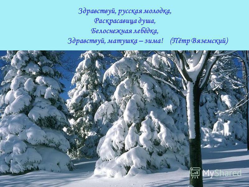 Здравствуй, русская молодка, Раскрасавица душа, Белоснежная лебёдка, Здравствуй, матушка – зима! (Пётр Вяземский)