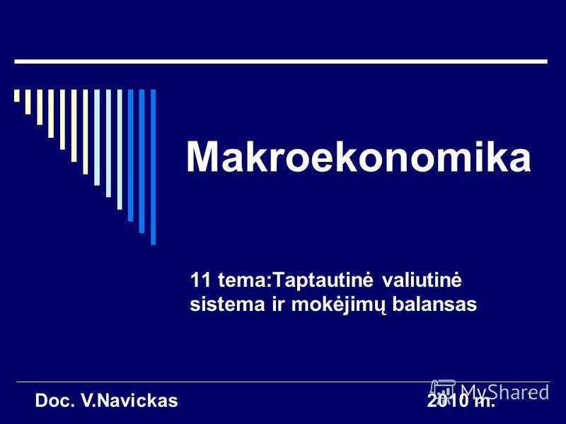 1 Makroekonomika 11 tema:Taptautinė valiutinė sistema ir mokėjimų balansas Doc. V.Navickas2010 m.