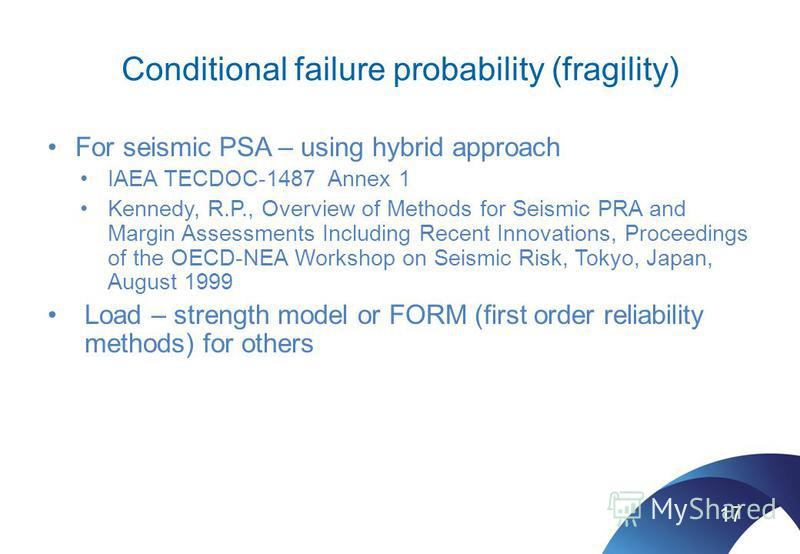 Conditional failure probability (fragility) For seismic PSA – using hybrid approach IAEA TECDOC-1487 Annex 1 Kennedy, R.P., Overview of Methods for Seismic PRA and Margin Assessments Including Recent Innovations, Proceedings of the OECD-NEA Workshop