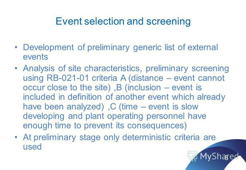 Event selection and screening Development of preliminary generic list of external events Analysis of site characteristics, preliminary screening using RB-021-01 criteria A (distance – event cannot occur close to the site),B (inclusion – event is incl