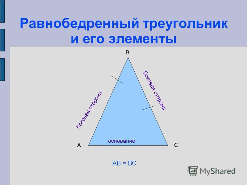 Равнобедренный треугольник и его элементы основание боковая сторона А В С АВ = ВС