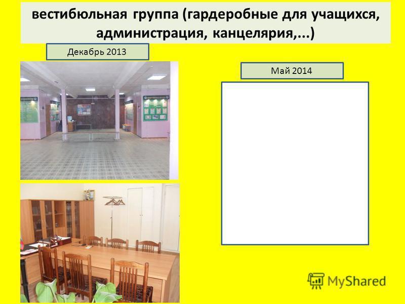 вестибюльная группа (гардеробные для учащихся, администрация, канцелярия,...) Декабрь 2013 Май 2014