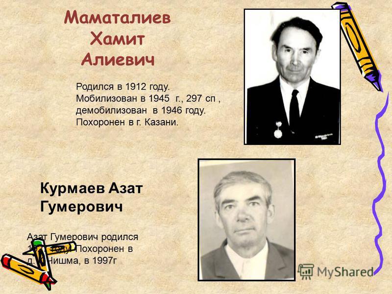 Маматалиев Хамит Алиевич Курмаев Азат Гумерович Азат Гумерович родился 1927 году. Похоронен в д. К.Чишма, в 1997 г Родился в 1912 году. Мобилизован в 1945 г., 297 сп, демобилизован в 1946 году. Похоронен в г. Казани.
