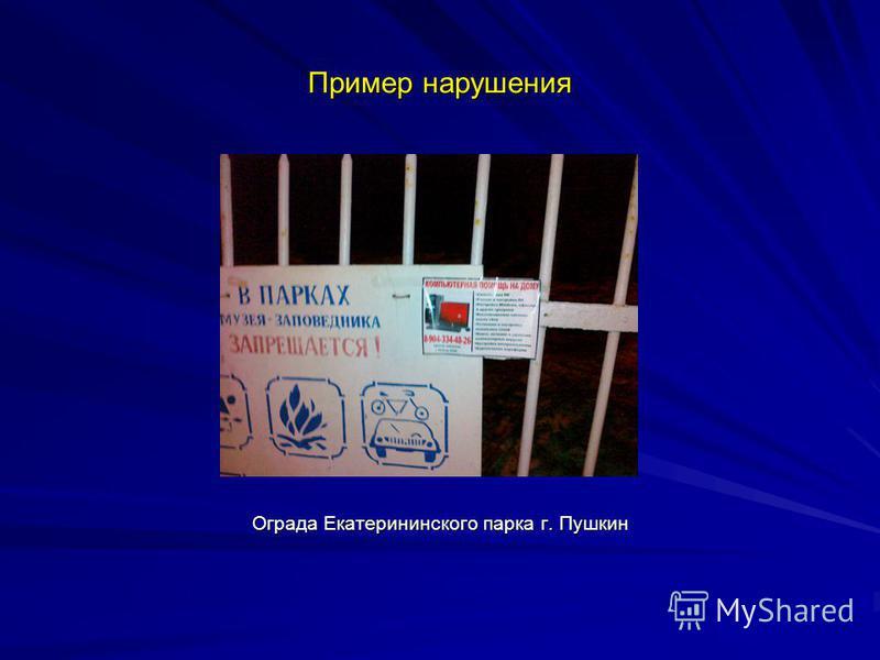 Пример нарушения Ограда Екатерининского парка г. Пушкин