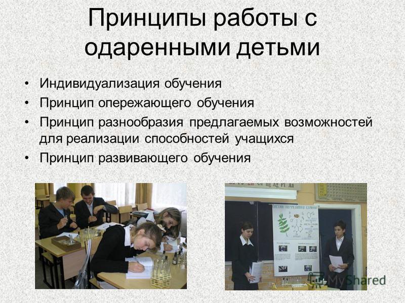 Принципы работы с одаренными детьми Индивидуализация обучения Принцип опережающего обучения Принцип разнообразия предлагаемых возможностей для реализации способностей учащихся Принцип развивающего обучения
