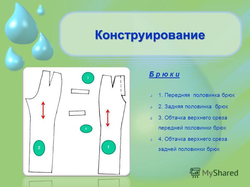Конструирование Б р ю к и 1. Передняя половинка брюк 2. Задняя половинка брюк 3. Обтачка верхнего среза передней половинки брюк 4. Обтачка верхнего среза задней половинки брюк 2 1 3 4