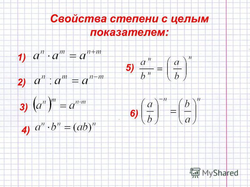 Свойства степени с целым показателем: 1) 2) 3) 4) 5) 6)