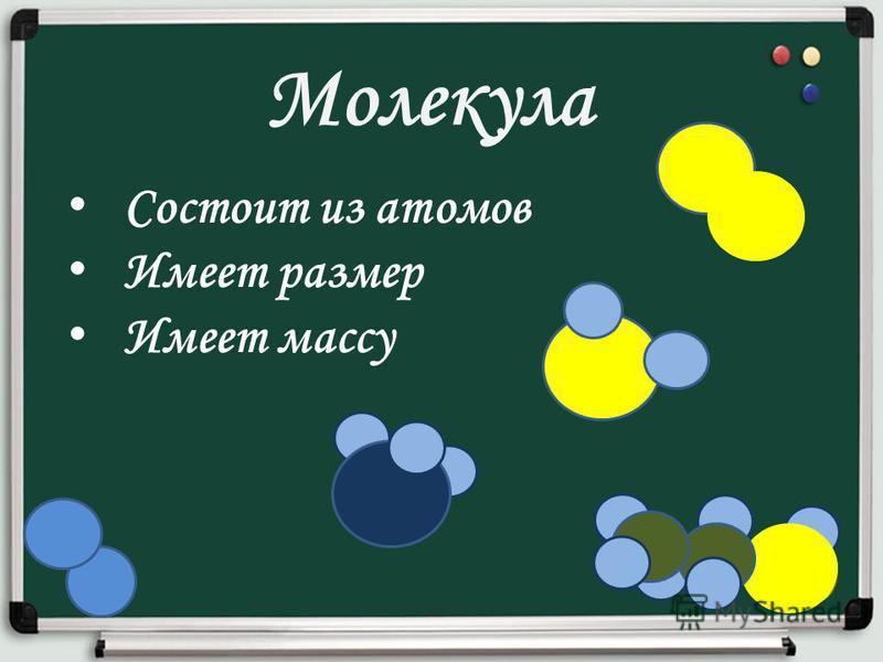 Молекула Состоит из атомов Имеет размер Имеет массу