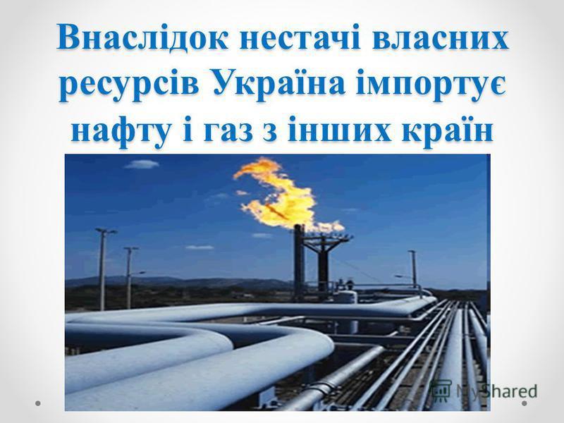 Внаслідок нестачі власних ресурсів Україна імпортує нафту і газ з інших країн