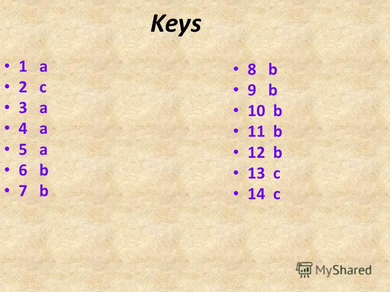 Keys 1 a 2 c 3 a 4 a 5 a 6 b 7 b 8 b 9 b 10 b 11 b 12 b 13 c 14 c