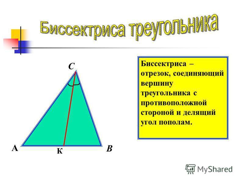 С Биссектриса – отрезок, соединяющий вершину треугольника с противоположной стороной и делящий угол пополам. А В К