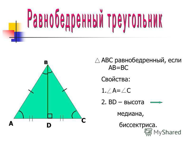 в ABC равнобедренный, если АВ=ВС Свойства: 1. А= С 2. ВD – высота медиана, биссектриса. А С D