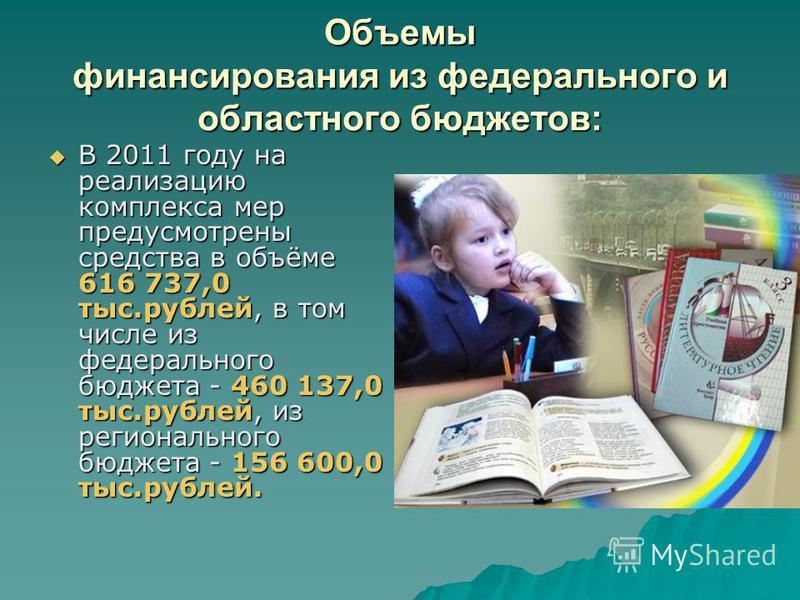 Объемы финансирования из федерального и областного бюджетов: В 2011 году на реализацию комплекса мер предусмотрены средства в объёме 616 737,0 тыс.рублей, в том числе из федерального бюджета - 460 137,0 тыс.рублей, из регионального бюджета - 156 600,