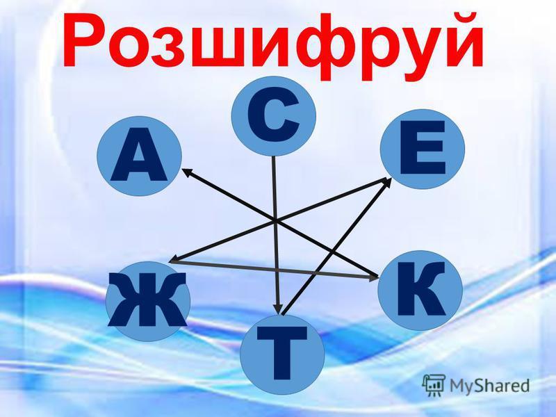 Розшифруй С К Т Ж А Е