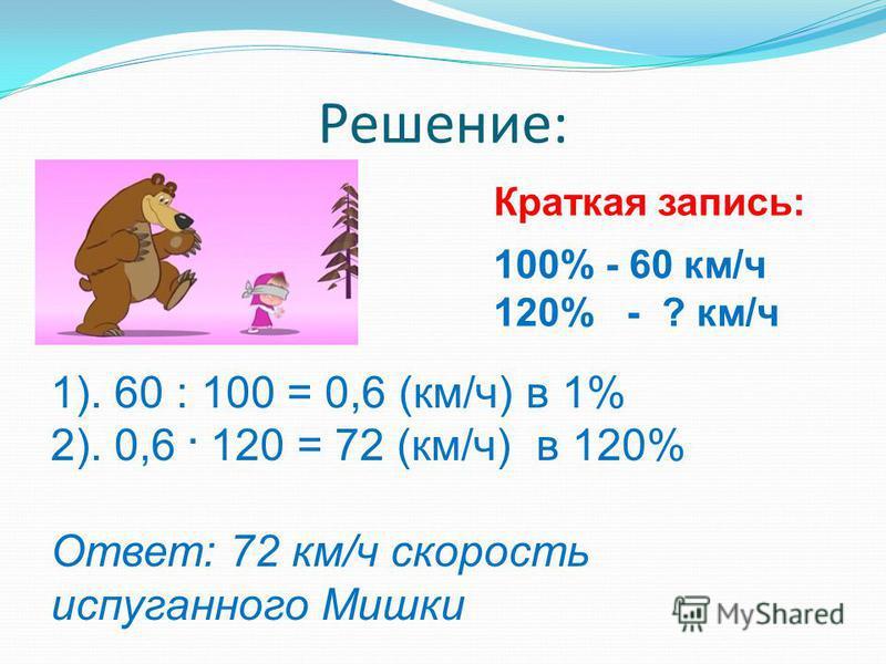 Решение: Краткая запись: 100% - 60 км/ч 120% - ? км/ч 1). 60 : 100 = 0,6 (км/ч) в 1% 2). 0,6. 120 = 72 (км/ч) в 120% Ответ: 72 км/ч скорость испуганного Мишки