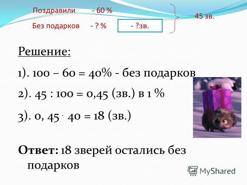 Поздравили Без подарков - 60 % - ? % - ?зв. 45 зв. Решение: 1). 100 – 60 = 40% - без подарков 2). 45 : 100 = 0,45 (зв.) в 1 % 3). 0, 45. 40 = 18 (зв.) Ответ: 18 зверей остались без подарков