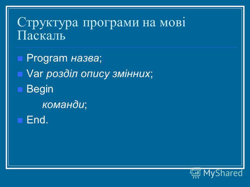 Структура програми на мові Паскаль Program назва; Var розділ опису змінних; Begin команди; End.