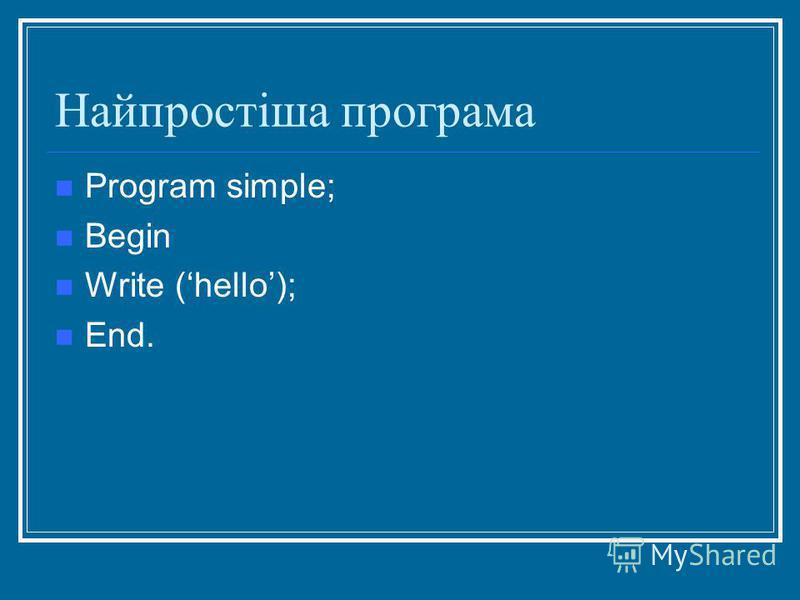 Найпростіша програма Program simple; Begin Write (hello); End.