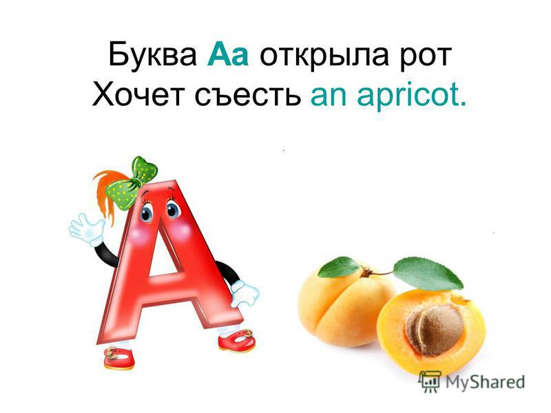 Буква Aa открыла рот Хочет съесть an apricot.