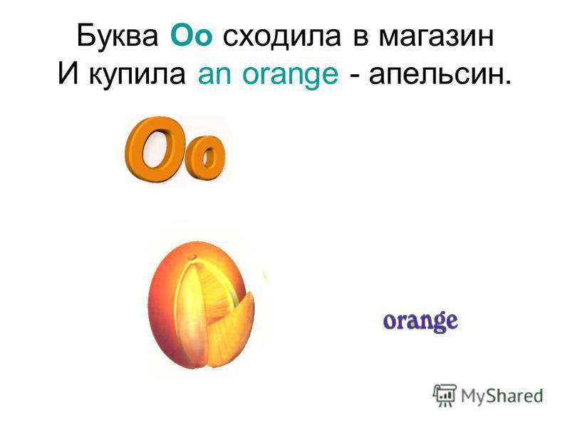 Буква Oo сходила в магазин И купила an orange - апельсин.