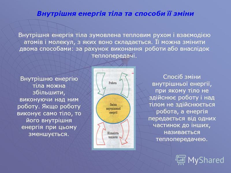Внутрішня енергія тіла зумовлена тепловим рухом і взаємодією атомів і молекул, з яких воно складається. Її можна змінити двома способами: за рахунок виконання роботи або внаслідок теплопередачі. Внутрішню енергію тіла можна збільшити, виконуючи над н