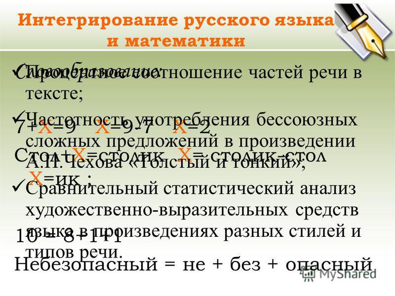 Интегрирование русского языка и математики Словообразование: 7+Х=9 Х=9-7 Х=2 Стол+Х=столик Х= столик-стол Х=ик ; 10 = 8+1+1 Небезопасный = не + без + опасный Процентное соотношение частей речи в тексте; Частотность употребления бессоюзных сложных пре