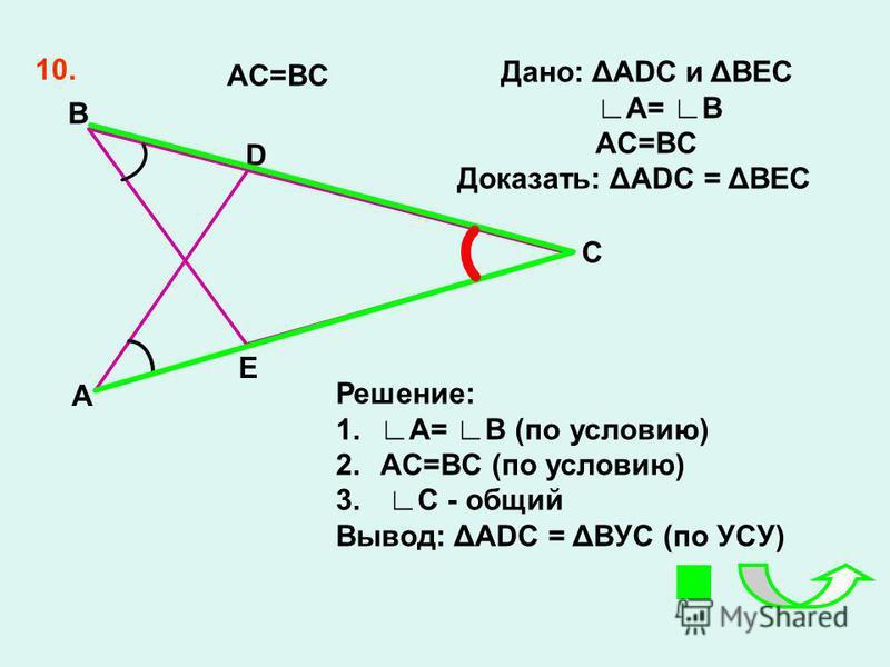 10. AC=BC A B D E C Дано: ΔADС и ΔBEC A= B AC=BC Доказать: ΔADC = ΔBEC Решение: 1.A= B (по условию) 2.AC=BC (по условию) 3. C - общий Вывод: ΔADС = ΔBУС (по УСУ)