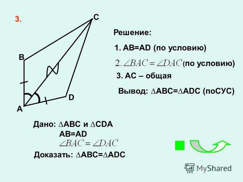 3. C B D 1. AB=AD (по условию) 3. AC – общая Вывод: ABC=ADC (поСУС) A Решение: Дано: ABC и CDA AB=AD Доказать: ABC=ADC ( по условию)