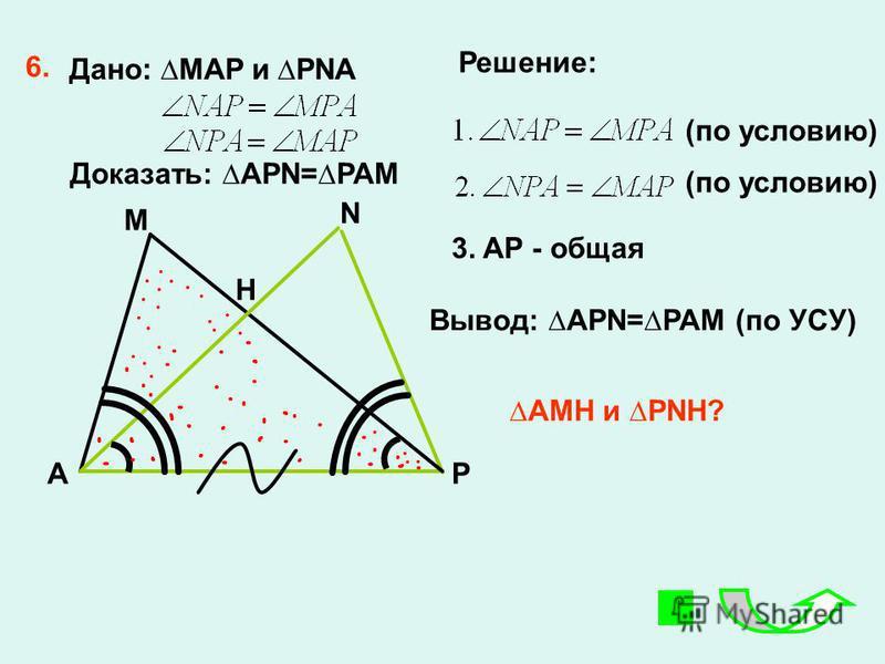 6. A M H N P 3. AP - общая Вывод: APN=PAM (по УСУ) Решение: Дано: MAP и PNA Доказать: APN=PAM AMH и PNH? (по условию)