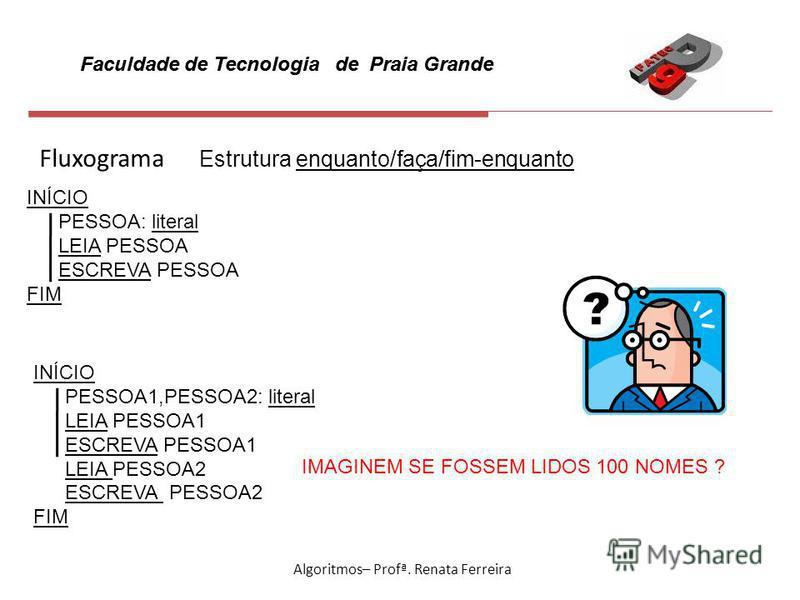 Faculdade de Tecnologia de Praia Grande Algoritmos– Profª. Renata Ferreira Fluxograma Estrutura enquanto/faça/fim-enquanto INÍCIO PESSOA: literal LEIA PESSOA ESCREVA PESSOA FIM INÍCIO PESSOA1,PESSOA2: literal LEIA PESSOA1 ESCREVA PESSOA1 LEIA PESSOA2