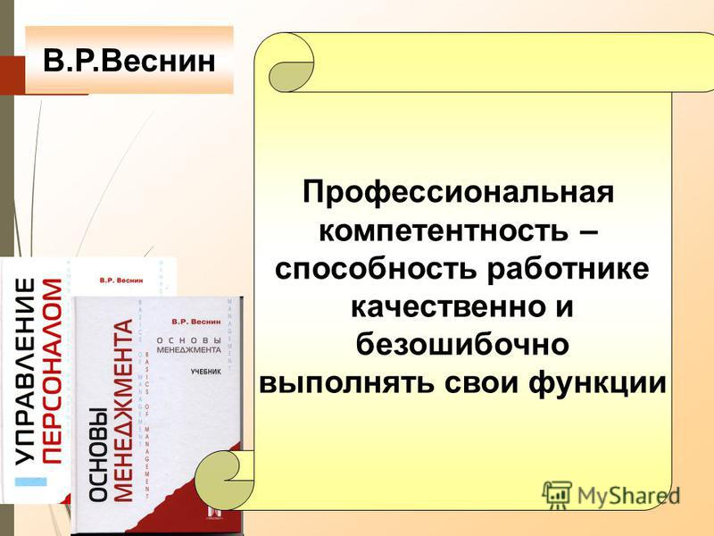 Профессиональная компетентность – способность работнике качественно и безошибочно выполнять свои функции В.Р.Веснин
