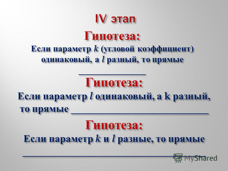 Гипотеза : Если параметр l одинаковый, а k разный, то прямые ___________________________ Гипотеза : Если параметр k ( угловой коэффициент ) одинаковый, а l разный, то прямые _______________ Гипотеза : Если параметр k и l разные, то прямые ___________