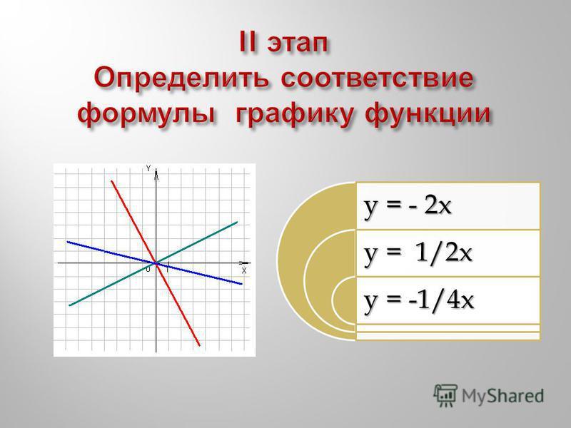 y = - 2x y = 1/2x y = -1/4x