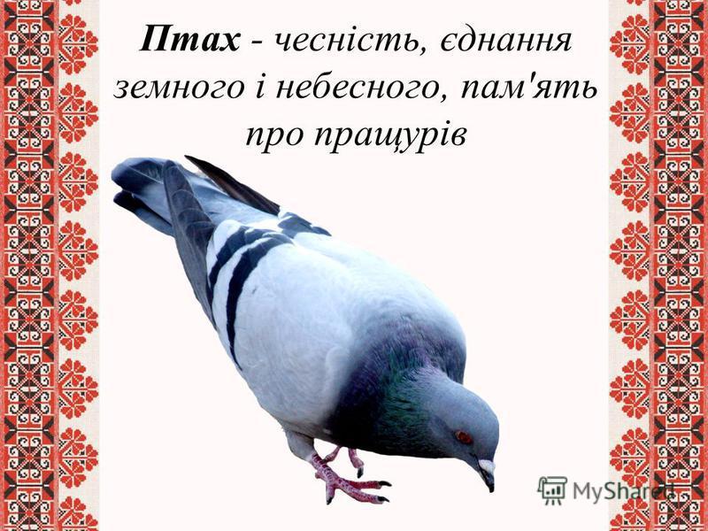 Птах - чесність, єднання земного і небесного, пам'ять про пращурів