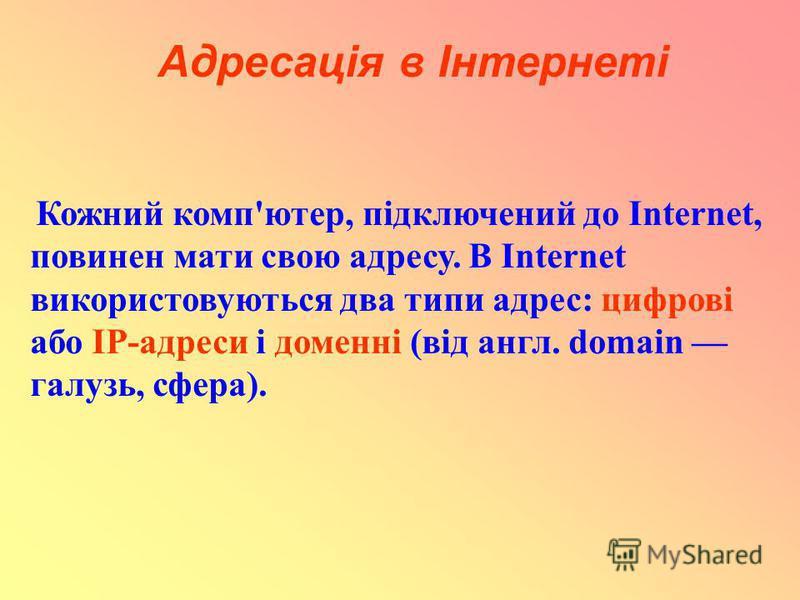 Адресація в Інтернеті Кожний комп'ютер, підключений до Internet, повинен мати свою адресу. В Internet використовуються два типи адрес: цифрові або IP-адреси і доменні (від англ. domain галузь, сфера).