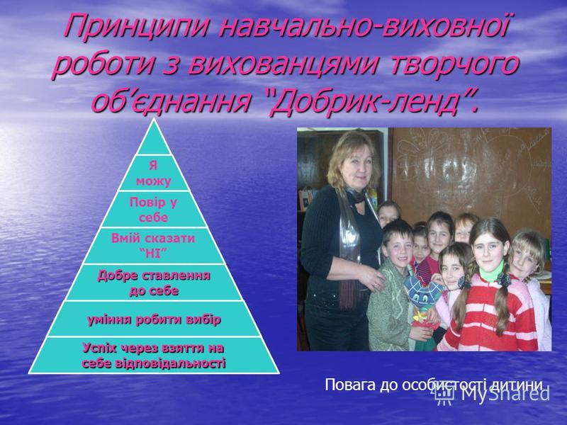 Принципи навчально-виховної роботи з вихованцями творчого обєднання Добрик-ленд. Я можу Повір у себе Вмій сказати НІ Добре ставлення до себе уміння робити вибір Успіх через взяття на себе відповідальності Повага до особистості дитини