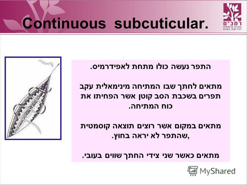 Continuous subcuticular. התפר נעשה כולו מתחת לאפידרמיס. מתאים לחתך שבו המתיחה מינימאלית עקב תפרים בשכבת הסב קוטן אשר הפחיתו את כוח המתיחה. מתאים במקום אשר רוצים תוצאה קוסמטית,שהתפר לא יראה בחוץ. מתאים כאשר שני צידי החתך שווים בעובי.