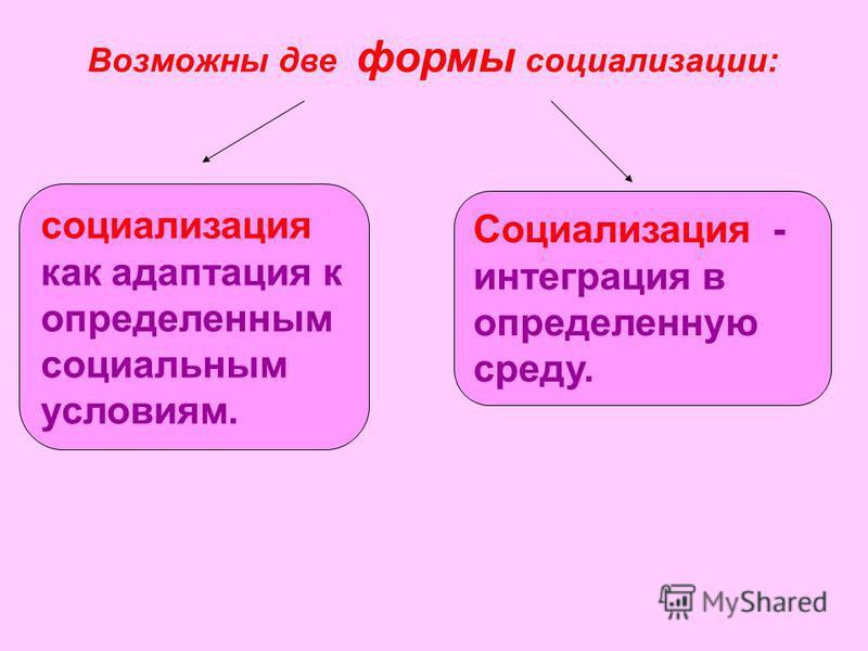 социализация как адаптация к определенным социальным условиям. Социализация - интеграция в определенную среду. Возможны две формы социализации: