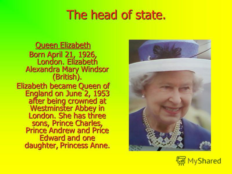 The head of state. Queen Elizabeth Born April 21, 1926, London. Elizabeth Alexandra Mary Windsor (British). Elizabeth became Queen of England on June 2, 1953 after being crowned at Westminster Abbey in London. She has three sons, Prince Charles, Prin