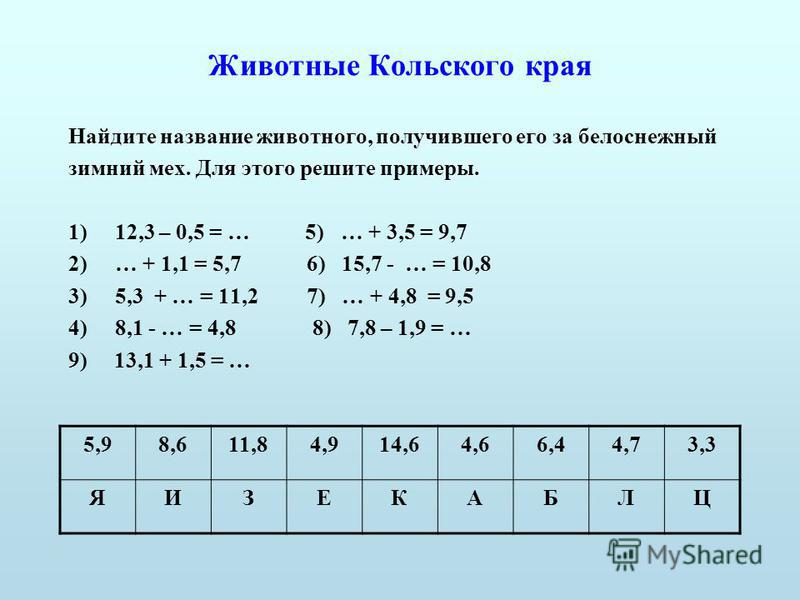 Животные Кольского края Найдите название животного, получившего его за белоснежный зимний мех. Для этого решите примеры. 1)12,3 – 0,5 = … 5) … + 3,5 = 9,7 2)… + 1,1 = 5,7 6) 15,7 - … = 10,8 3)5,3 + … = 11,2 7) … + 4,8 = 9,5 4)8,1 - … = 4,8 8) 7,8 – 1