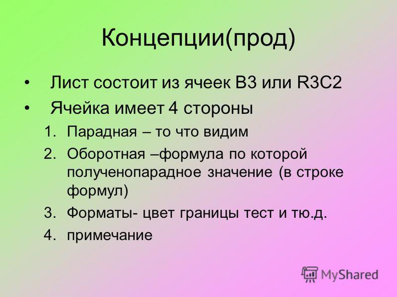 Концепции(прод) Лист состоит из ячеек B3 или R3C2 Ячейка имеет 4 стороны 1. Парадная – то что видим 2. Оборотная –формула по которой получено парадное значение (в строке формул) 3.Форматы- цвет границы тест и тю.д. 4.примечание