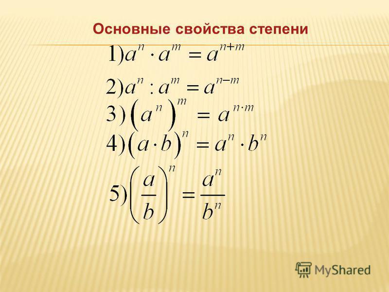 Основные свойства степени