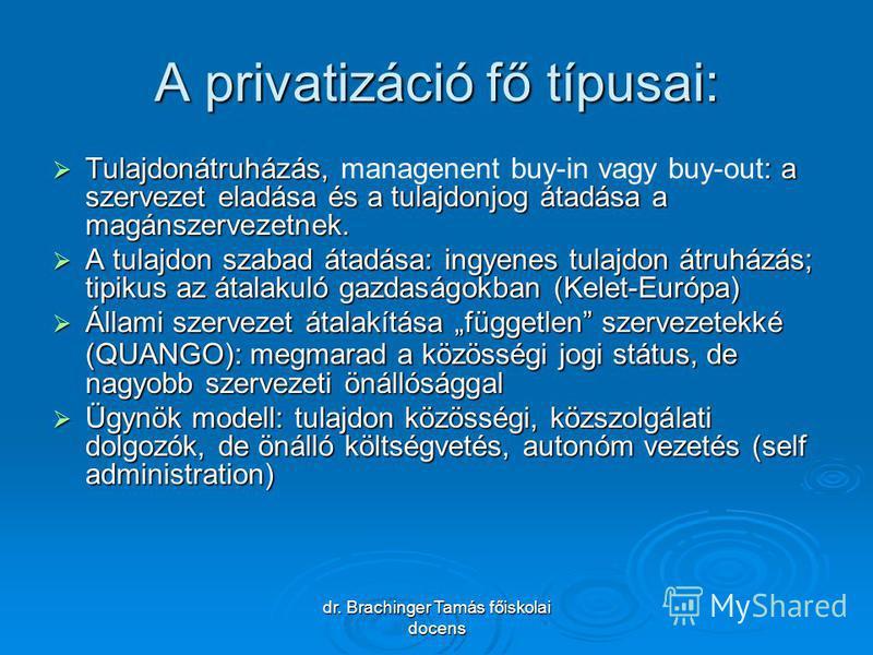 dr. Brachinger Tamás főiskolai docens A privatizáció fő típusai: Tulajdonátruházás, : a szervezet eladása és a tulajdonjog átadása a magánszervezetnek. Tulajdonátruházás, managenent buy-in vagy buy-out: a szervezet eladása és a tulajdonjog átadása a