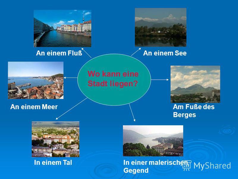Wo kann eine Stadt liegen? An einem FlußAn einem See An einem MeerAm Fuße des Berges In einem TalIn einer malerischen Gegend