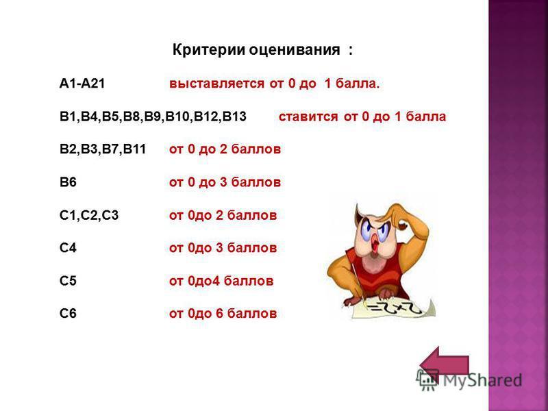 Критерии оценивания : А1-А21 выставляется от 0 до 1 балла. В1,В4,В5,В8,В9,В10,В12,В13 ставится от 0 до 1 балла В2,В3,В7,В11 от 0 до 2 баллов В6 от 0 до 3 баллов С1,С2,С3 от 0 до 2 баллов С4 от 0 до 3 баллов С5 от 0 до 4 баллов С6 от 0 до 6 баллов
