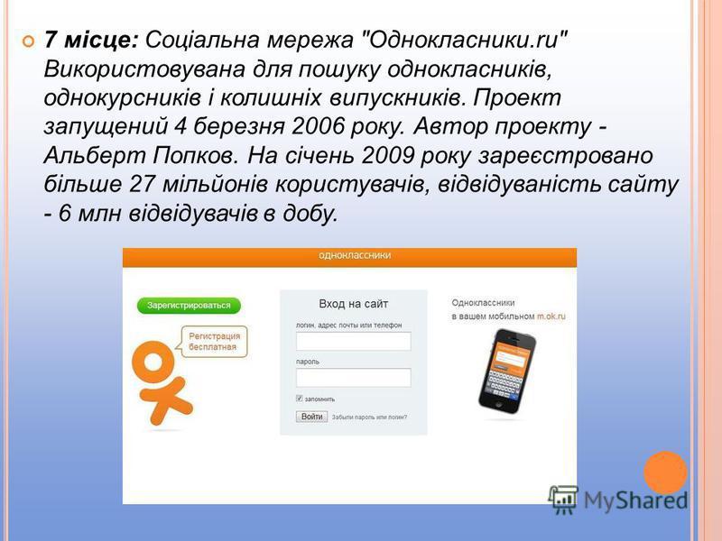 7 місце: Соціальна мережа