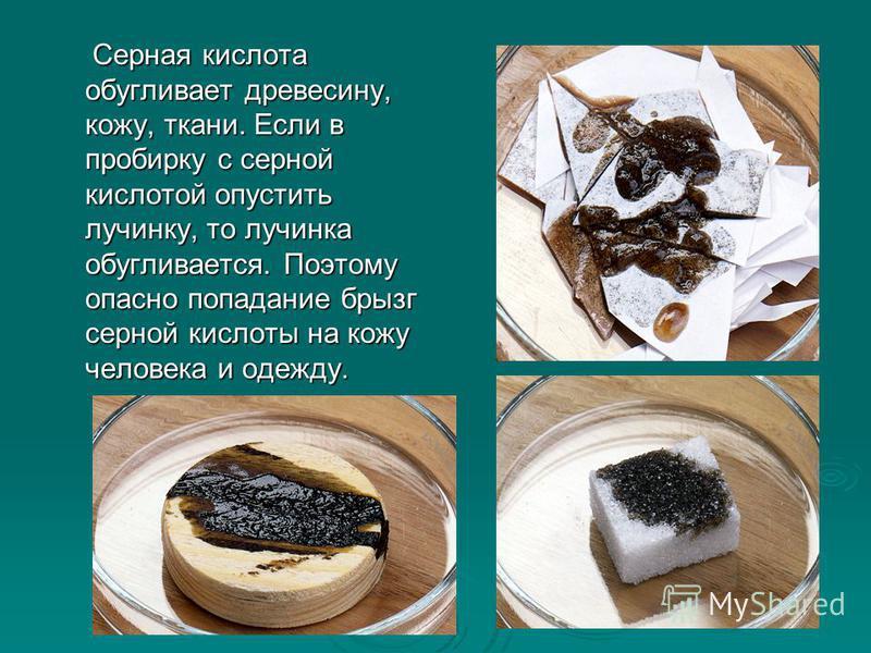 Серная кислота обугливает древесину, кожу, ткани. Если в пробирку с серной кислотой опустить лучинку, то лучинка обугливается. Поэтому опасно попадание брызг серной кислоты на кожу человека и одежду. Серная кислота обугливает древесину, кожу, ткани.