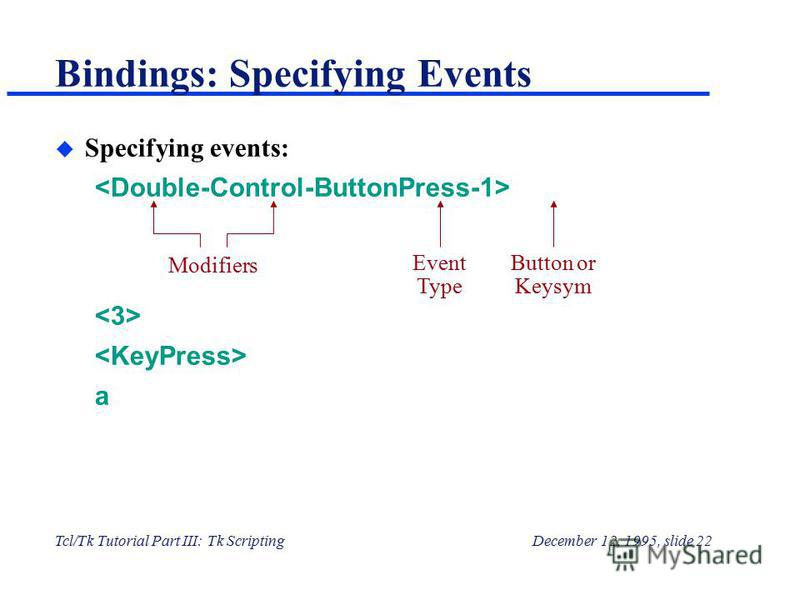 Tcl/Tk Tutorial Part III: Tk ScriptingDecember 12, 1995, slide 22 Bindings: Specifying Events u Specifying events: a Modifiers Event Type Button or Keysym