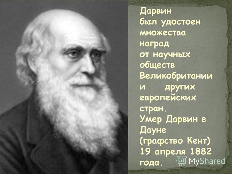 Дарвин был удостоен множества наград от научных обществ Великобритании и других европейских стран. Умер Дарвин в Дауне (графство Кент) 19 апреля 1882 года.
