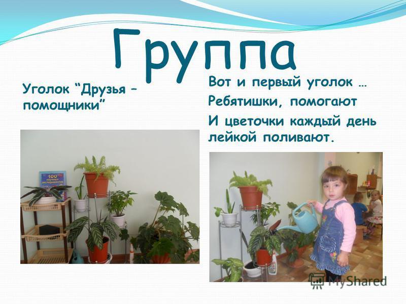 Группа Уголок Друзья – помощники Вот и первый уголок … Ребятишки, помогают И цветочки каждый день лейкой поливают.